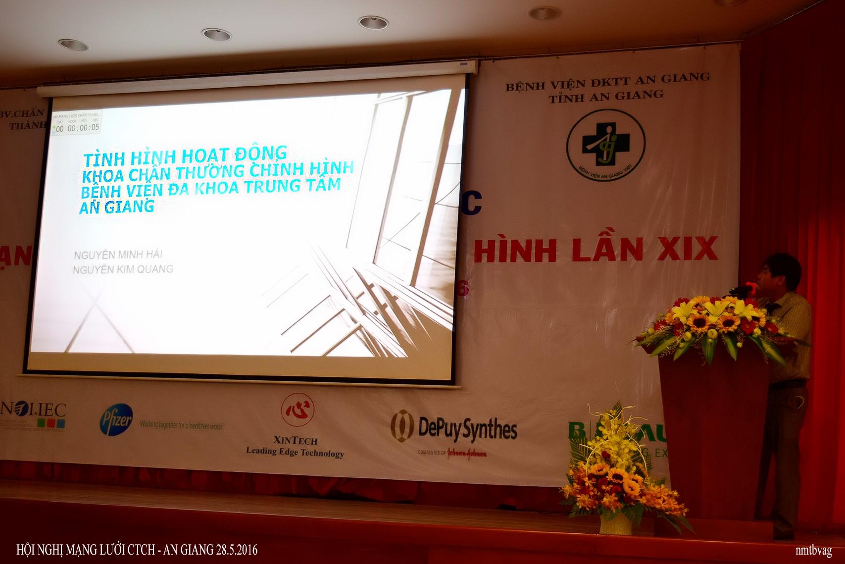 BS.CK1. Nguyễn Kim Quang, Khoa CTCH-BVĐKTT An Giang báo cáo ở hội nghị.